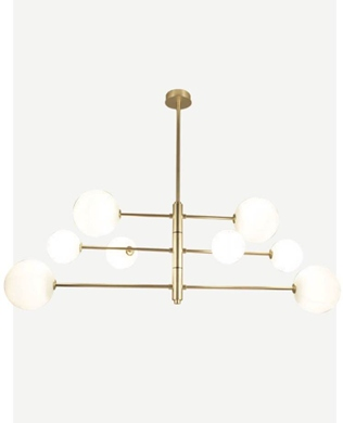 METAL PENDANT LAMP WITH OPAL OR CLEAR GLASS. METAL AVAILABLE IN MATT BRASS OR BLACK. H650 X 1400 ar