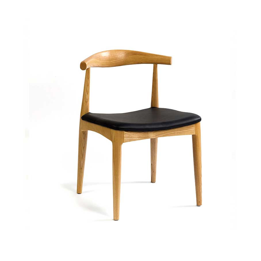 Silla natural asiento negro 55x49x74 CR